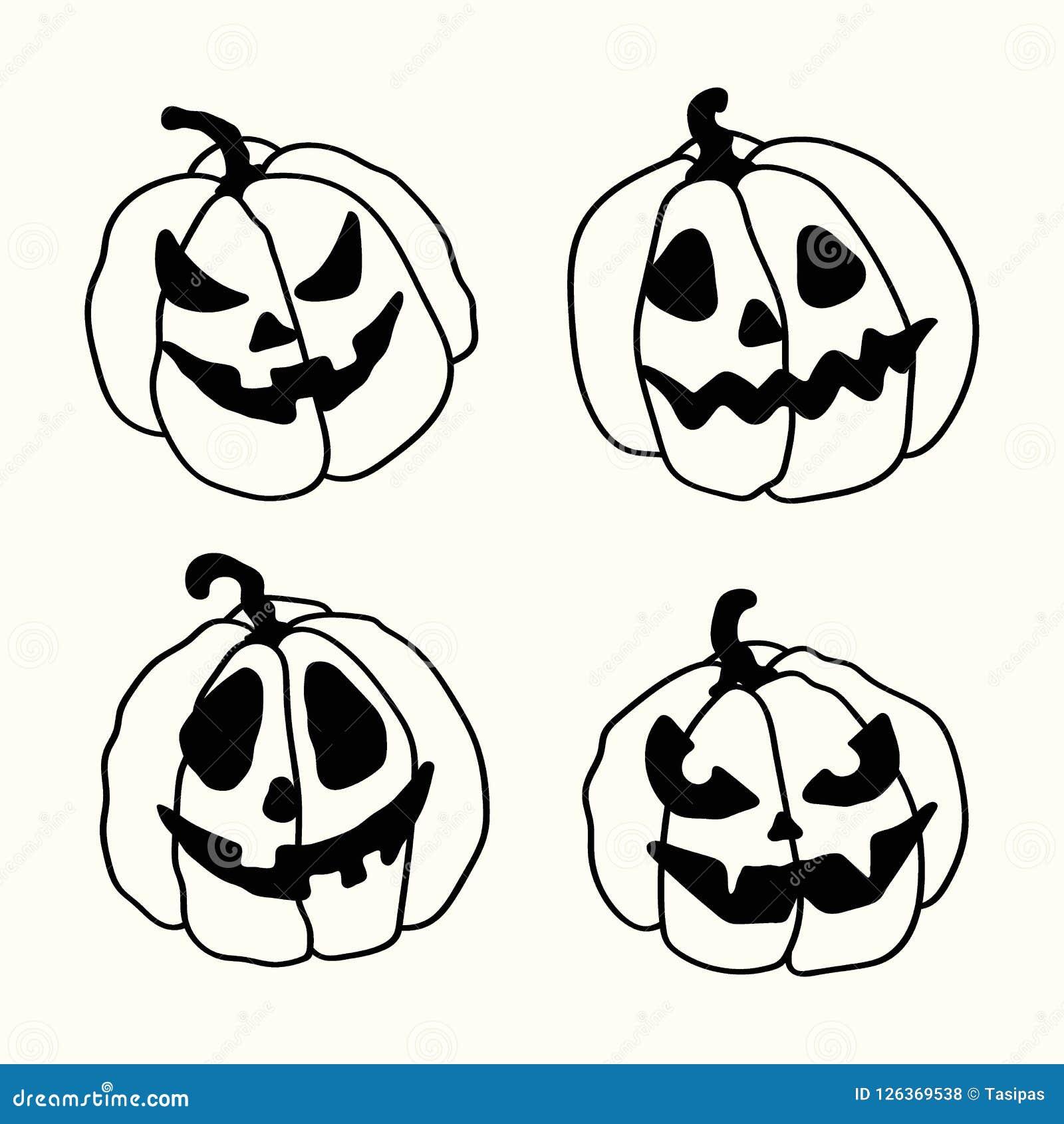halloween cartoon outline spooky face pumpkins set stock vector