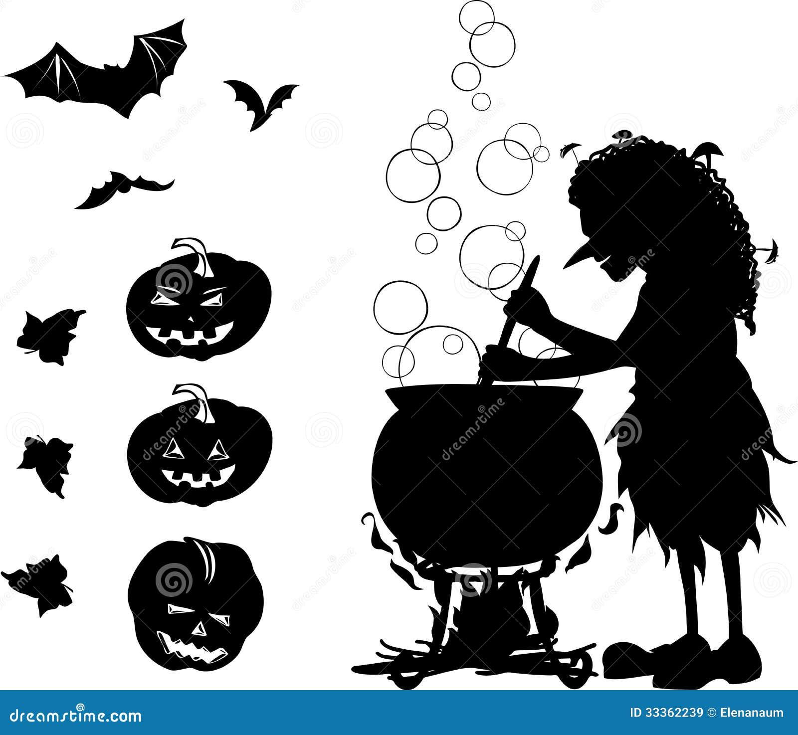 halloween cartoon set with silhouettes of witch bat pumpkin an