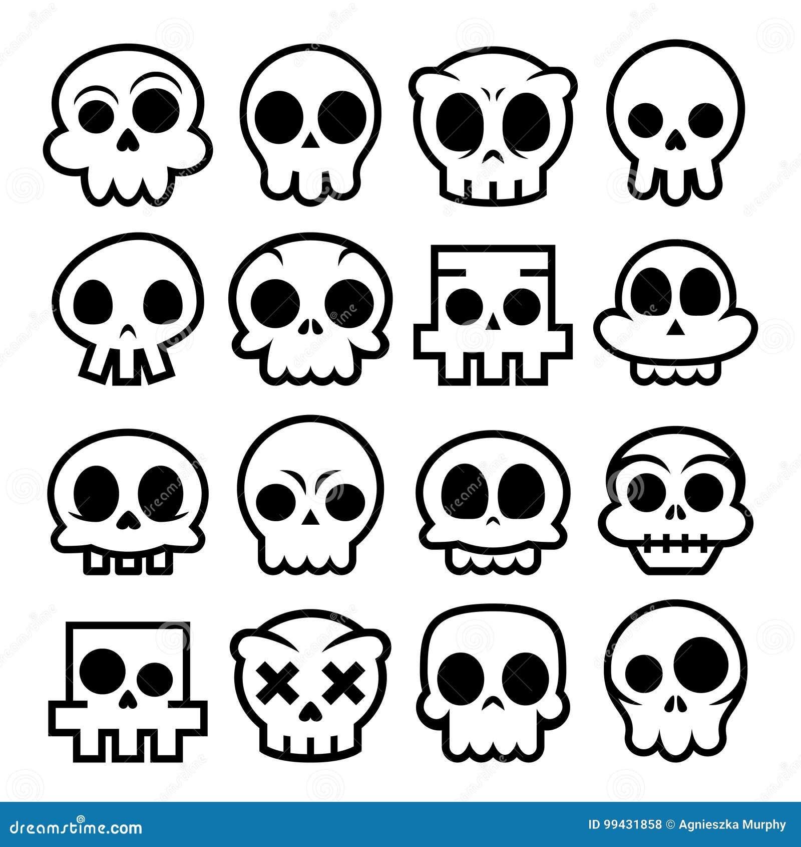 Halloween Cartoon Skull Icons Mexican Cute Sugar Skulls Design Set