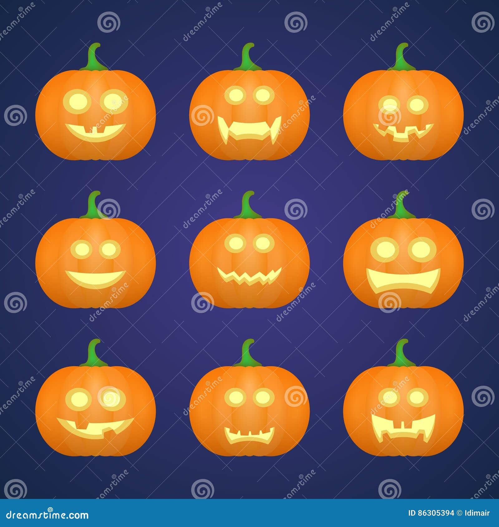 Halloween Carved Pumpkins Carved Face Emotions Set Vector Stock