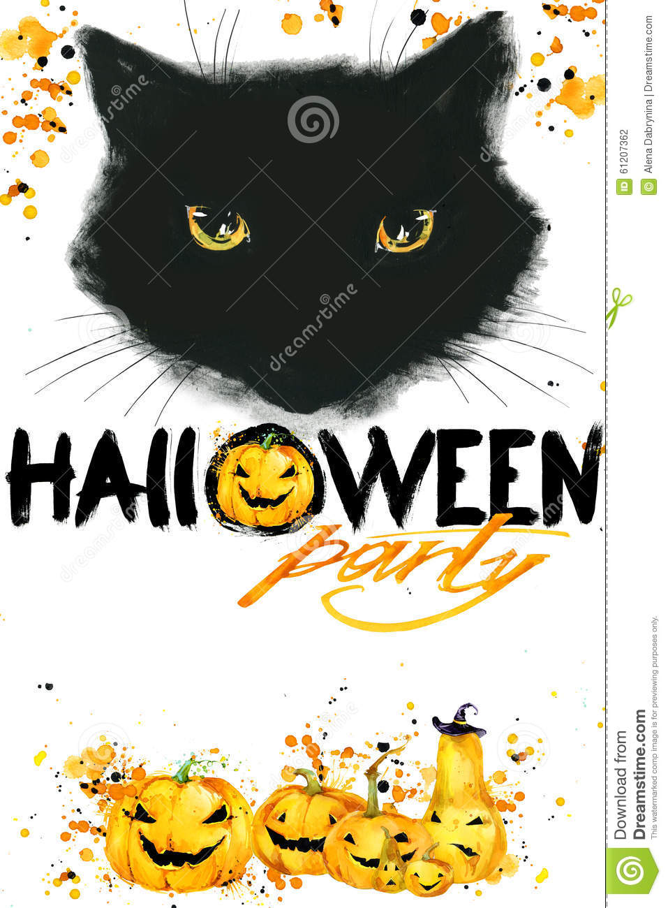 Halloween Cat poster for the holiday with the symbols of the holiday.
