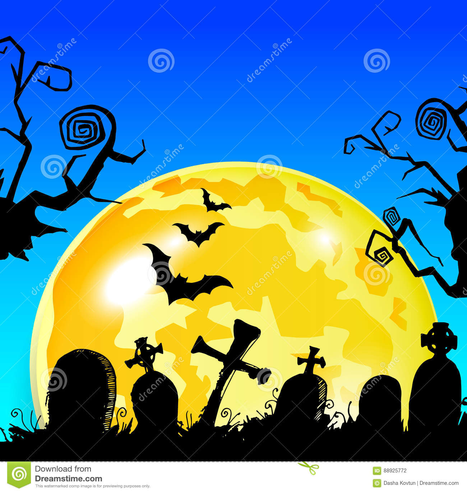 halloween cemetery moonlight landscape. illustration night, vec