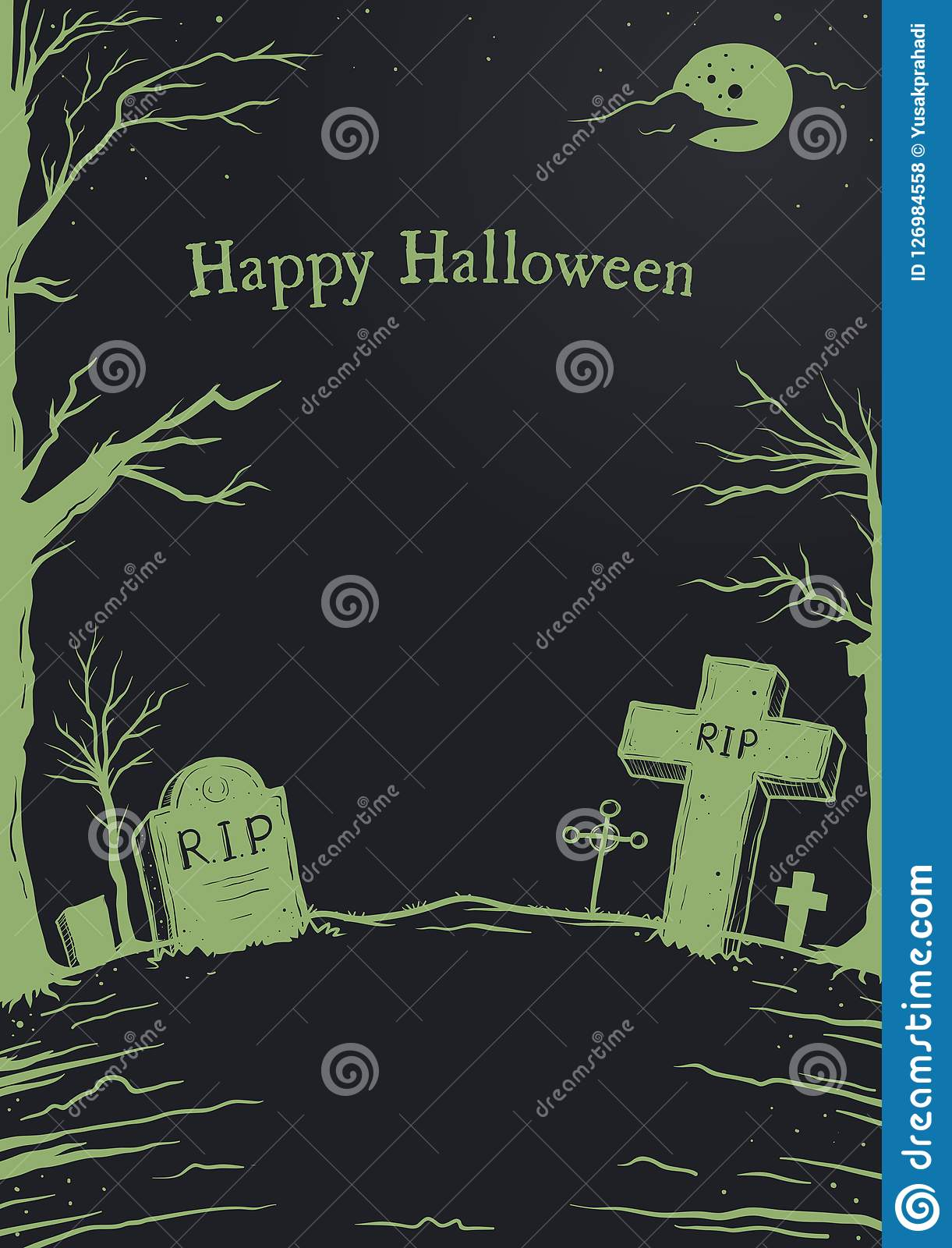 halloween cemetery poster black background template stock vector
