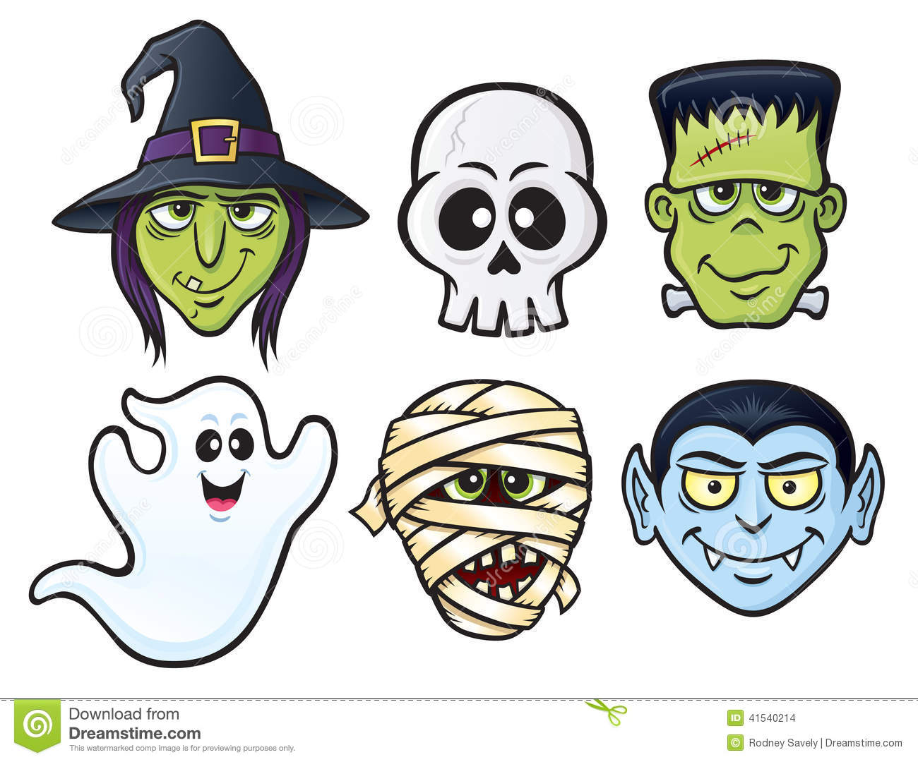 Halloween Cartoon Witch Face.Halloween Character Icons Stock Illustration Illustration Of Ghost
