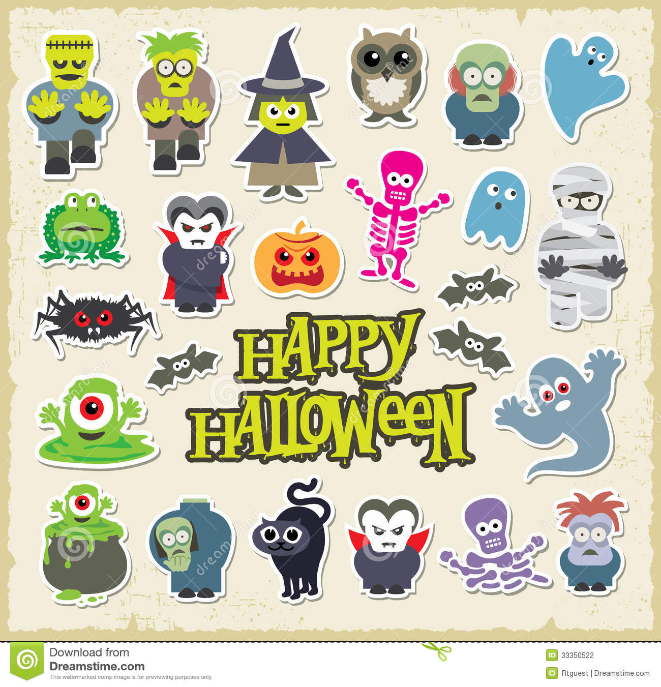 Halloween cute cartoons. Vector character design collection.