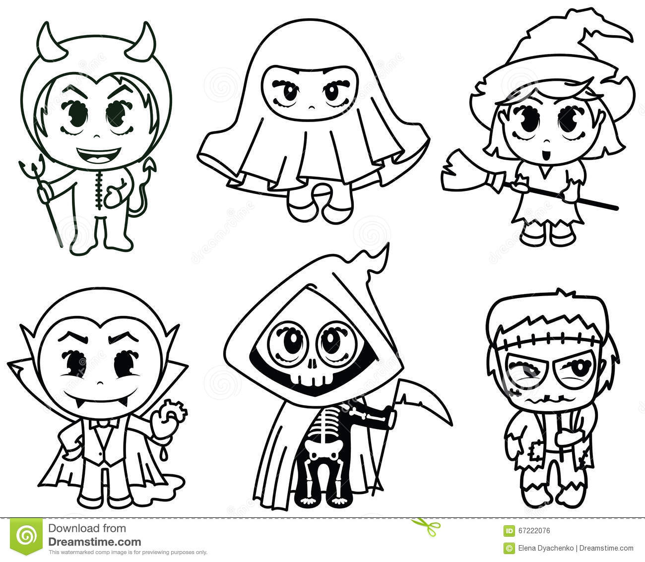 how to draw cute halloween characters