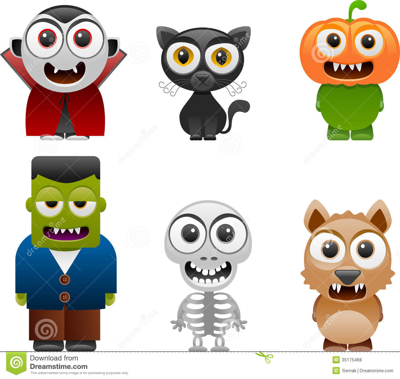 Vector illustration of halloween characters set 2- Separate layers for ...