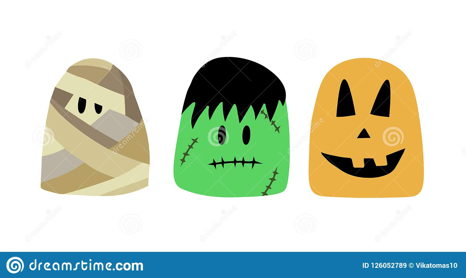 Halloween characters, Vector illustration mummy, frankenstein, pumpkin. cartoon characters for Halloween
