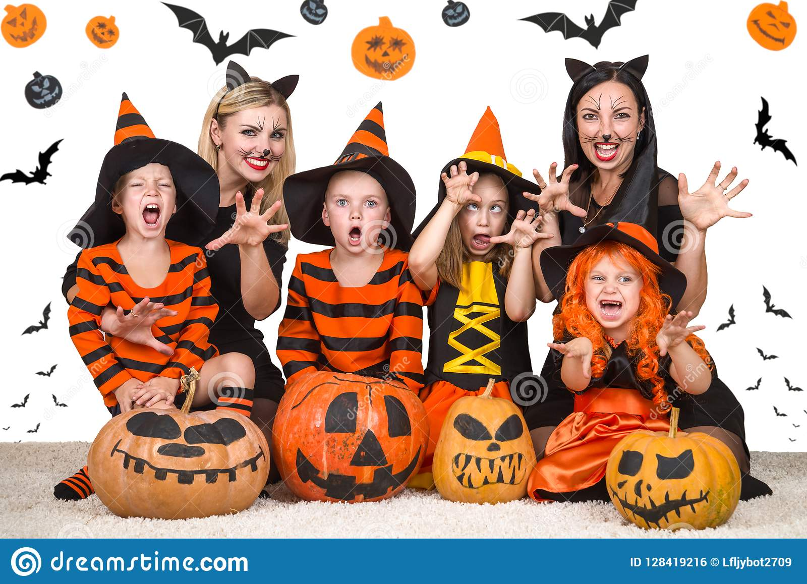 Children with moms celebrating Halloween.