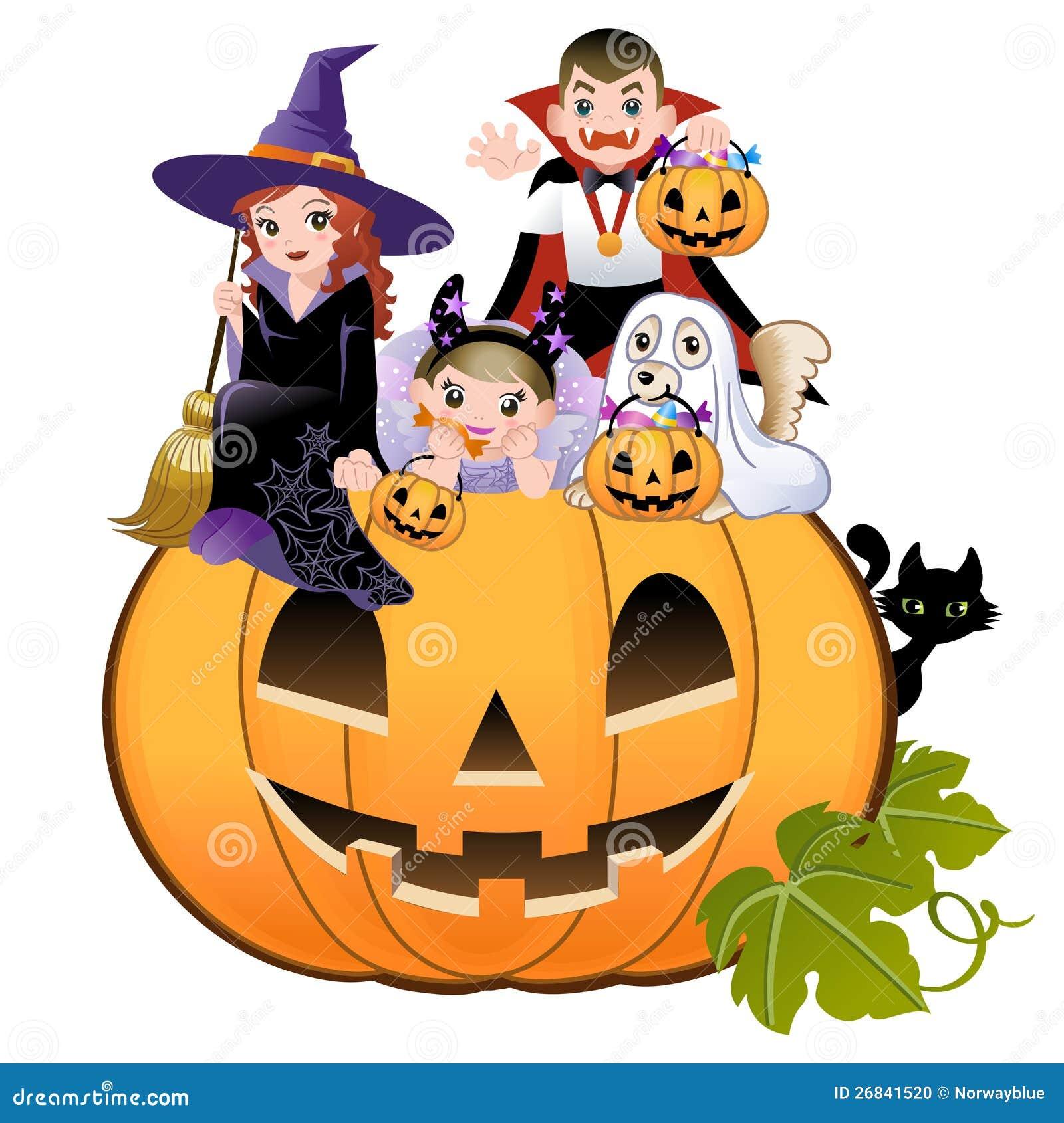Kinderen Halloween.Halloween Children Wearing Costume On Pumpkin Stock Vector