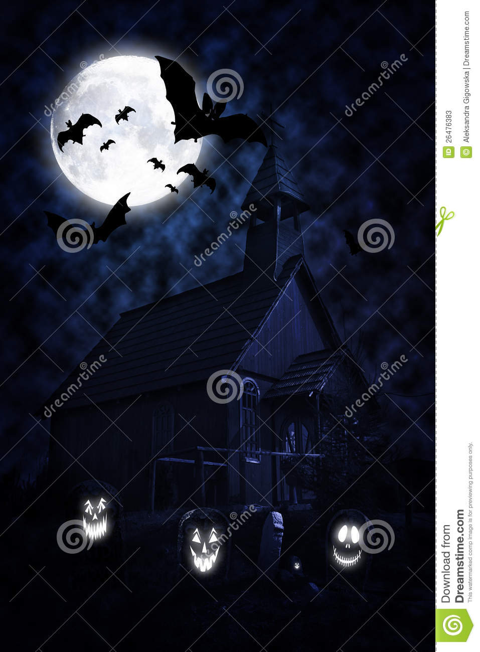Halloween churchyard at night with scary ghosts