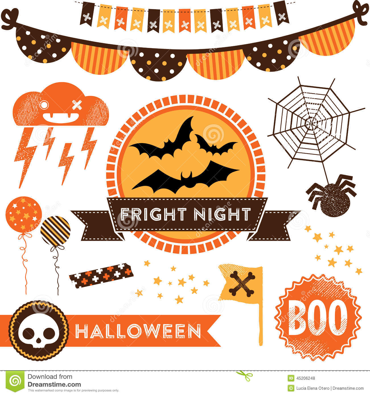 Halloween Clipart Vektor Abbildung Illustration Von Girlanden
