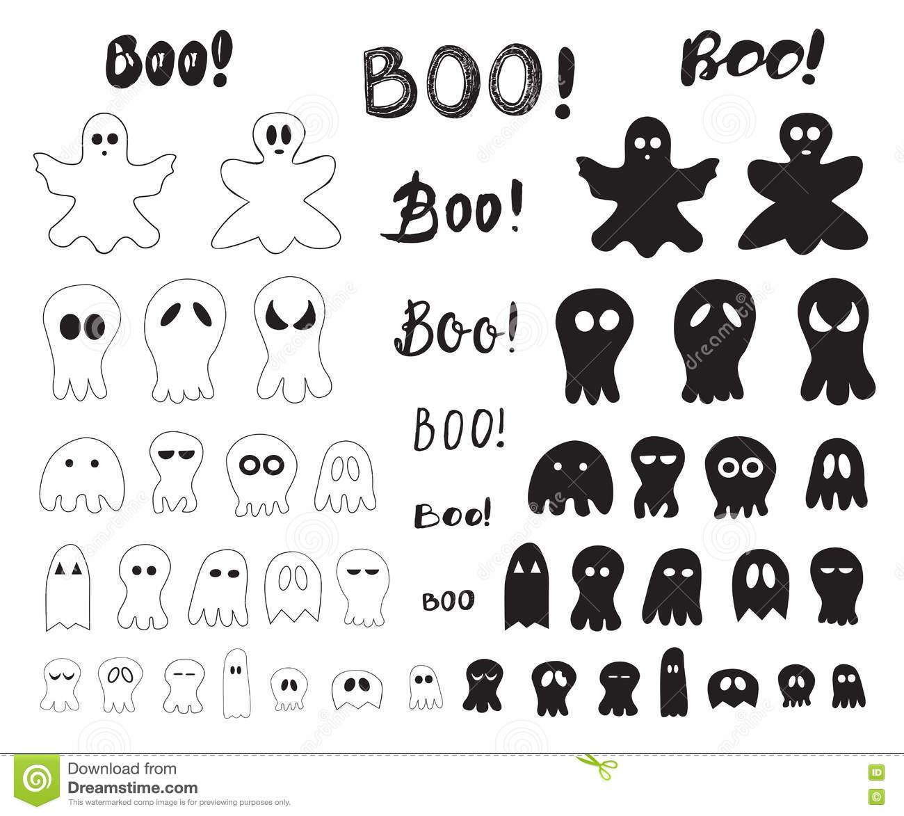 halloween collection of outlines and silhouettes ghosts stock vector