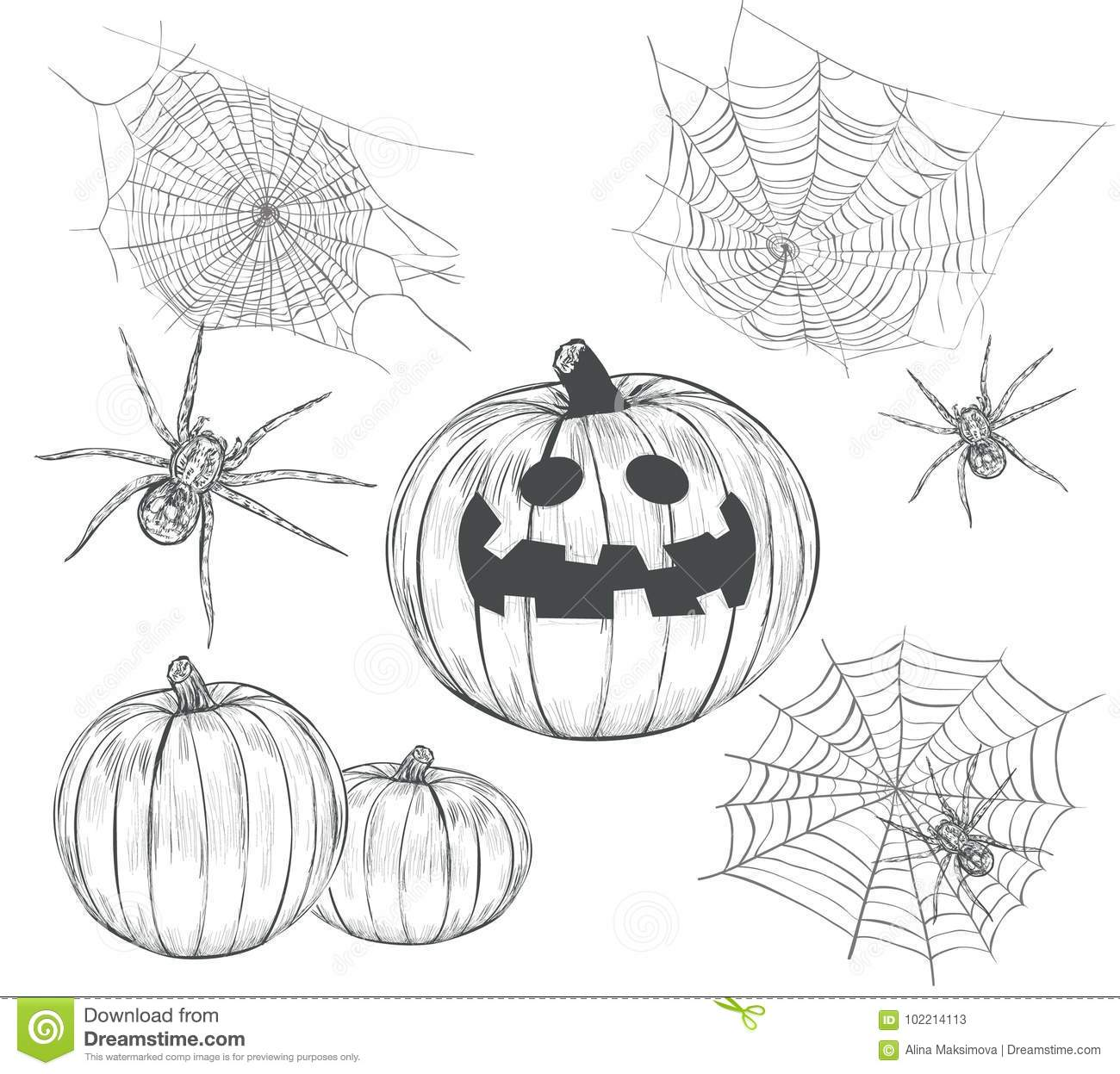 halloween collection of vector drawings. stock vector - illustration