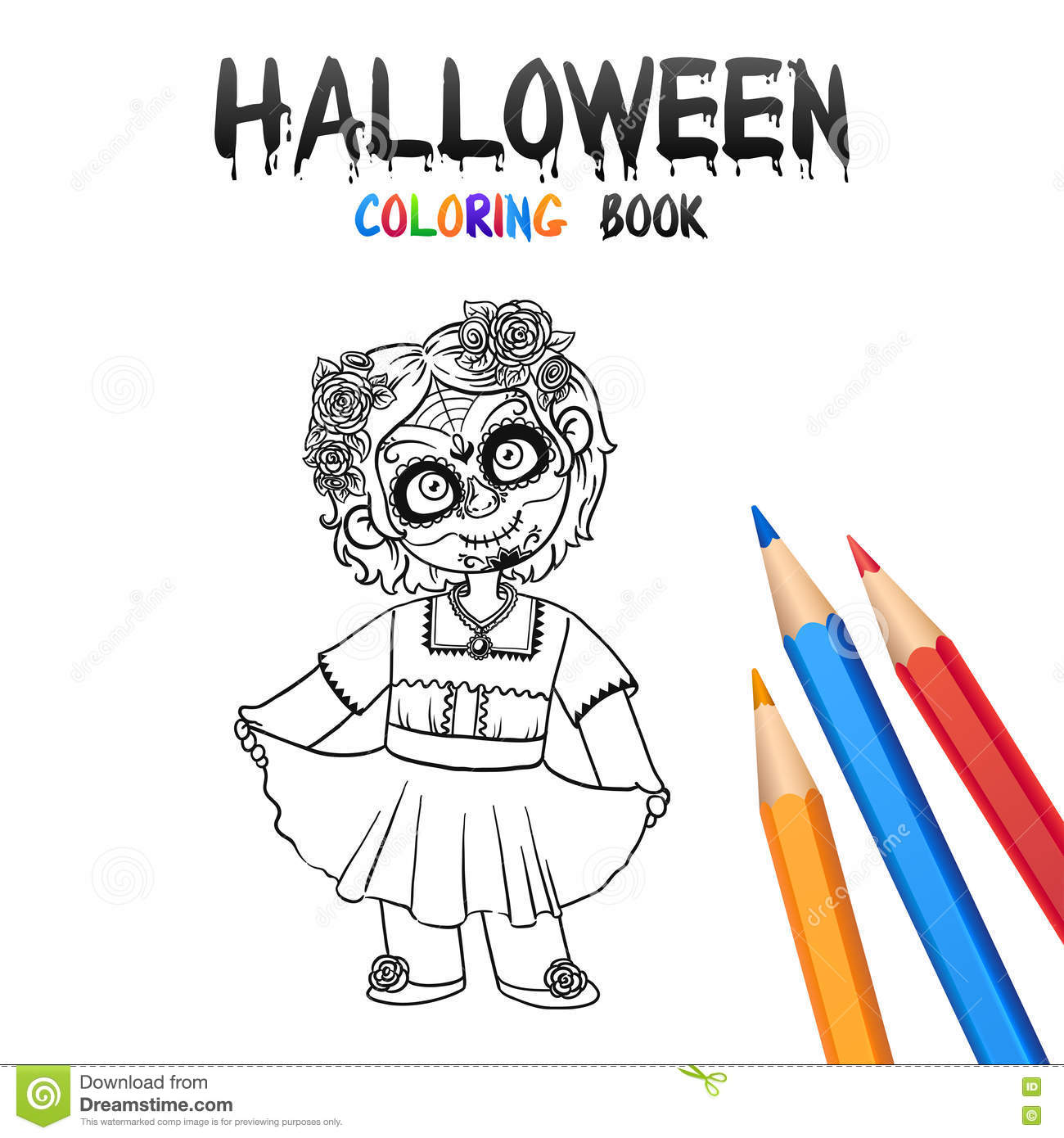 halloween coloring book cute baby cartoon character