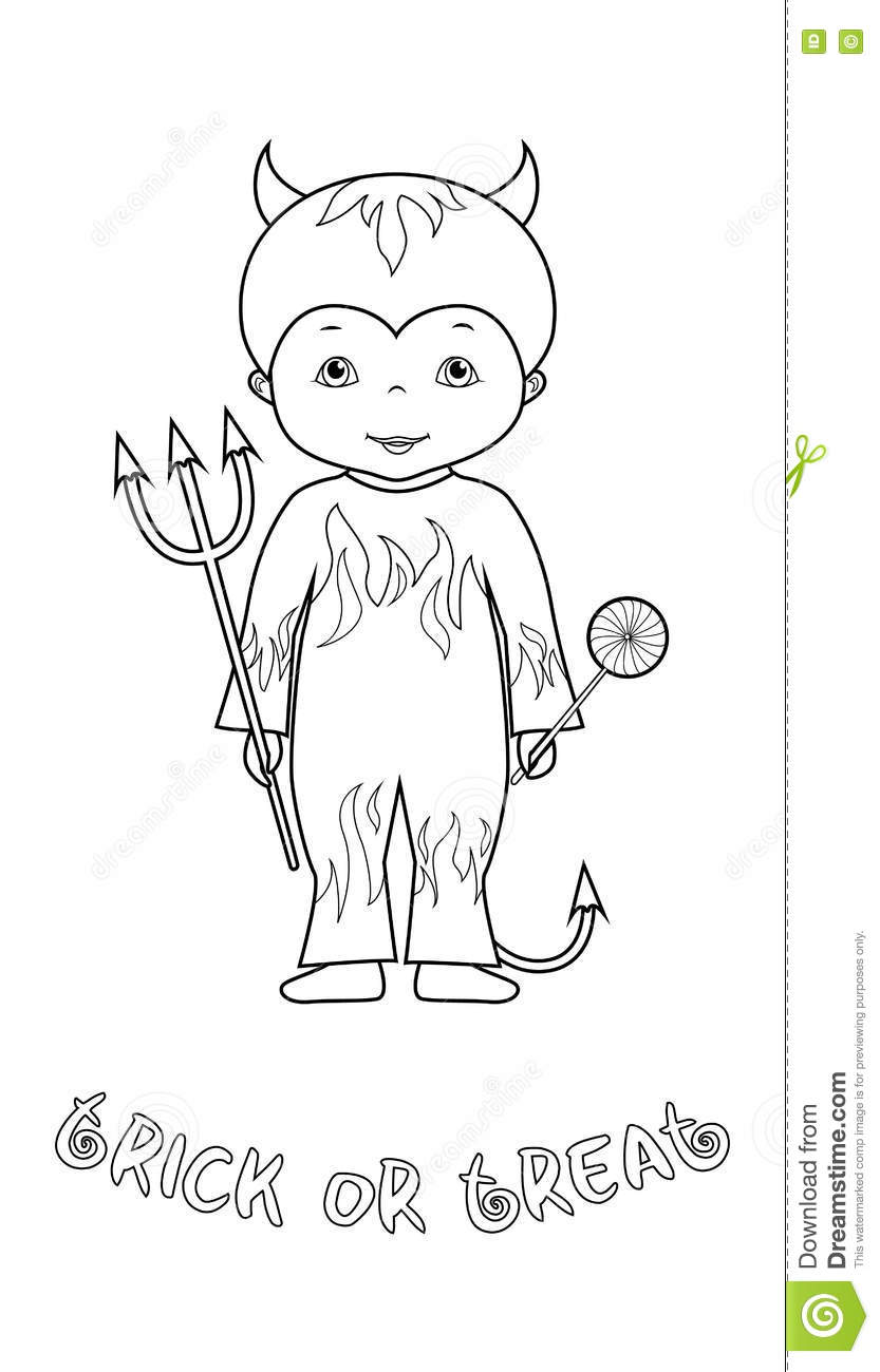 Halloween Coloring Page With Cute Devil Stock Vector - Illustration ...