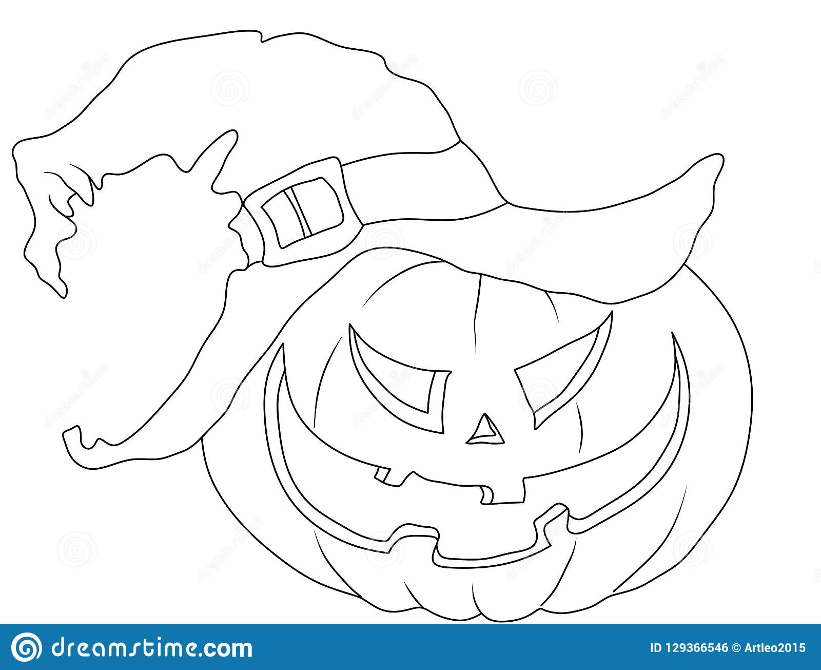 Halloween Coloring Page Pumpkin In The Hat Stock Illustration Illustration Of Design Contour 129366546