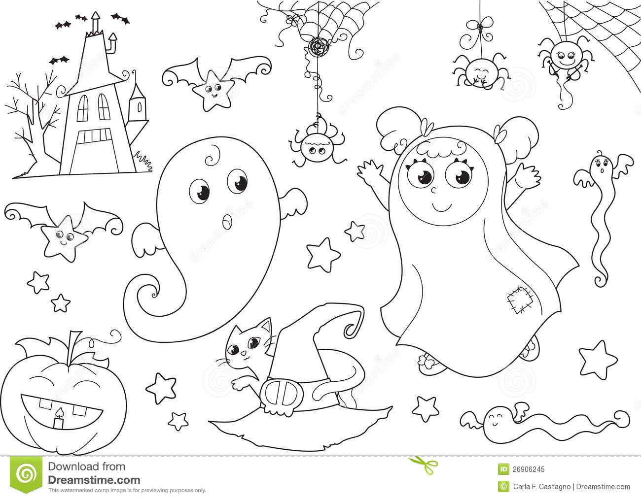 Halloween Coloring Page For Little Kids Royalty Free Stock