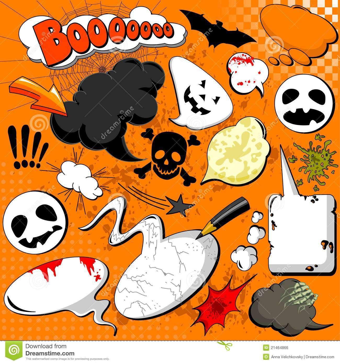 Halloween Comic Speech Bubbles Stock Vector - Illustration ...