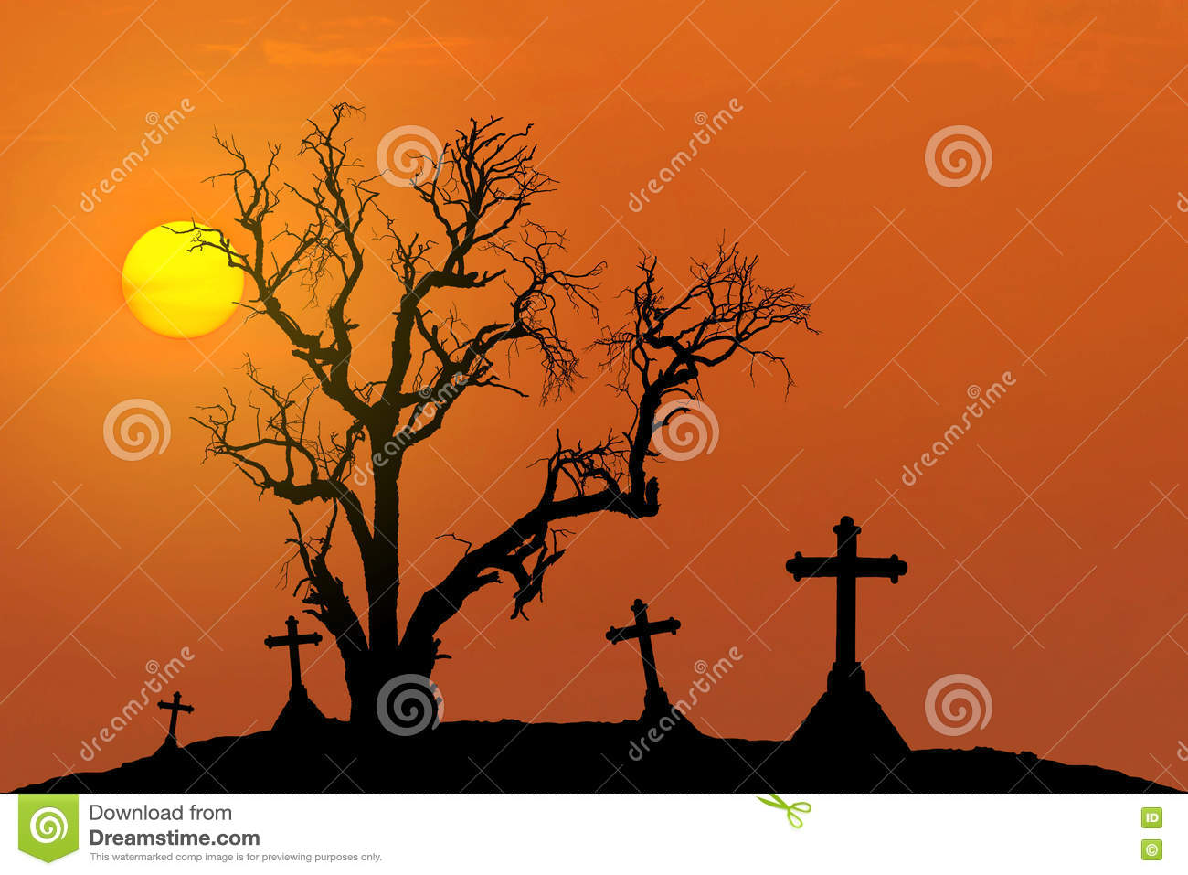 Halloween concept background with scary silhouette dead tree and spooky silhouette crosses with full moon