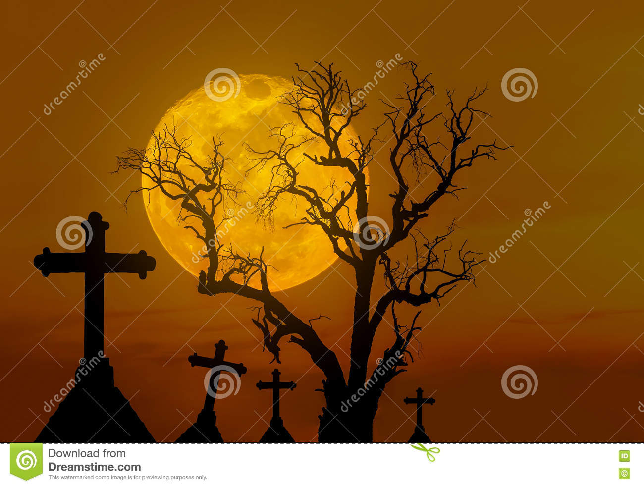 Halloween concept background with scary silhouette dead tree and spooky silhouette crosses in mystic graveyard and big full moon