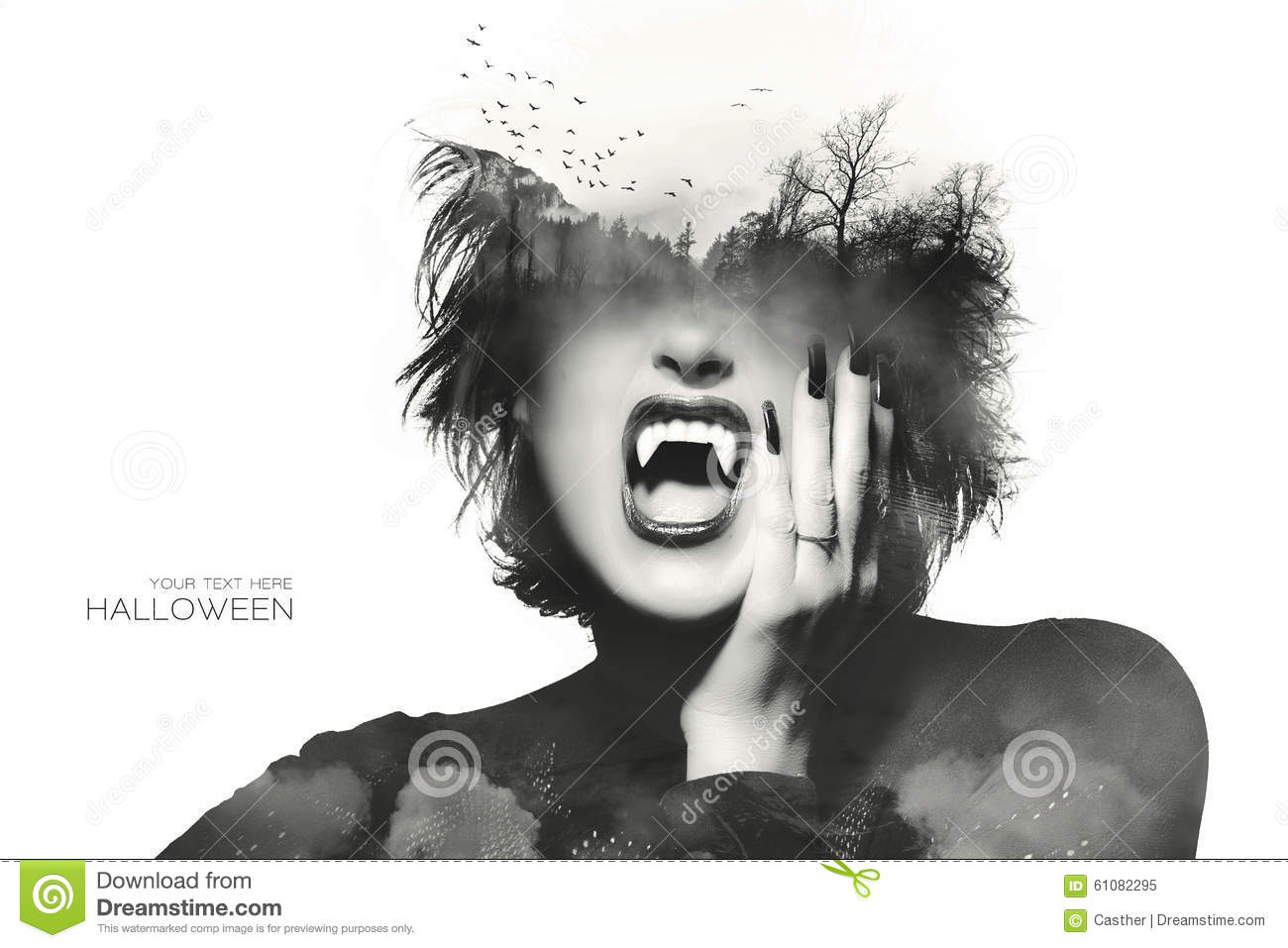 Halloween concept with a Gothic girl. Double Exposure