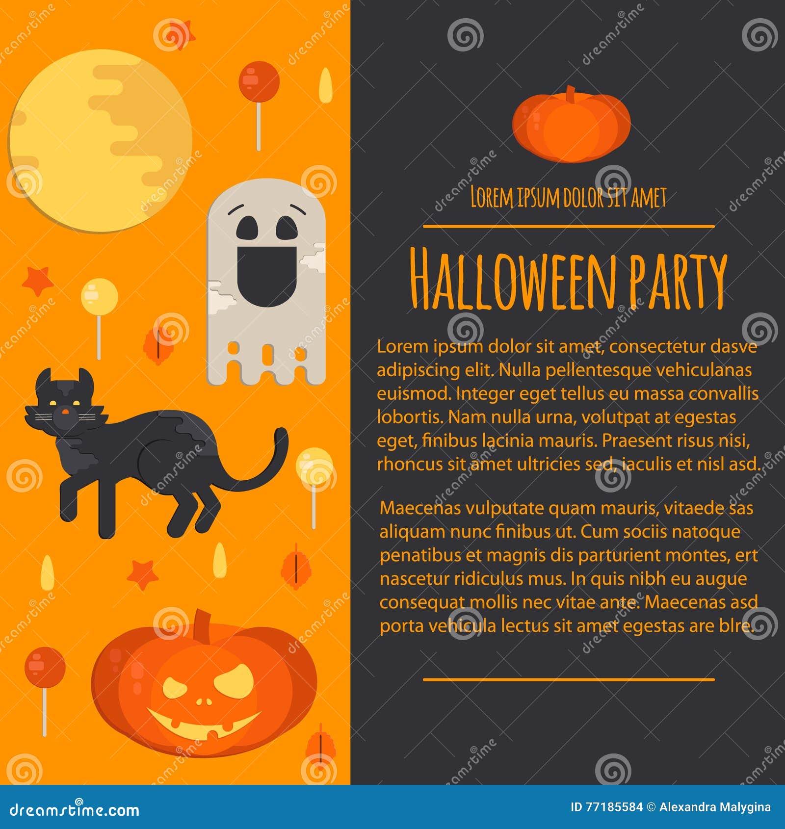 Letterhead Template In Flat Style: Halloween Concept Letterhead Template In Flat Style Stock