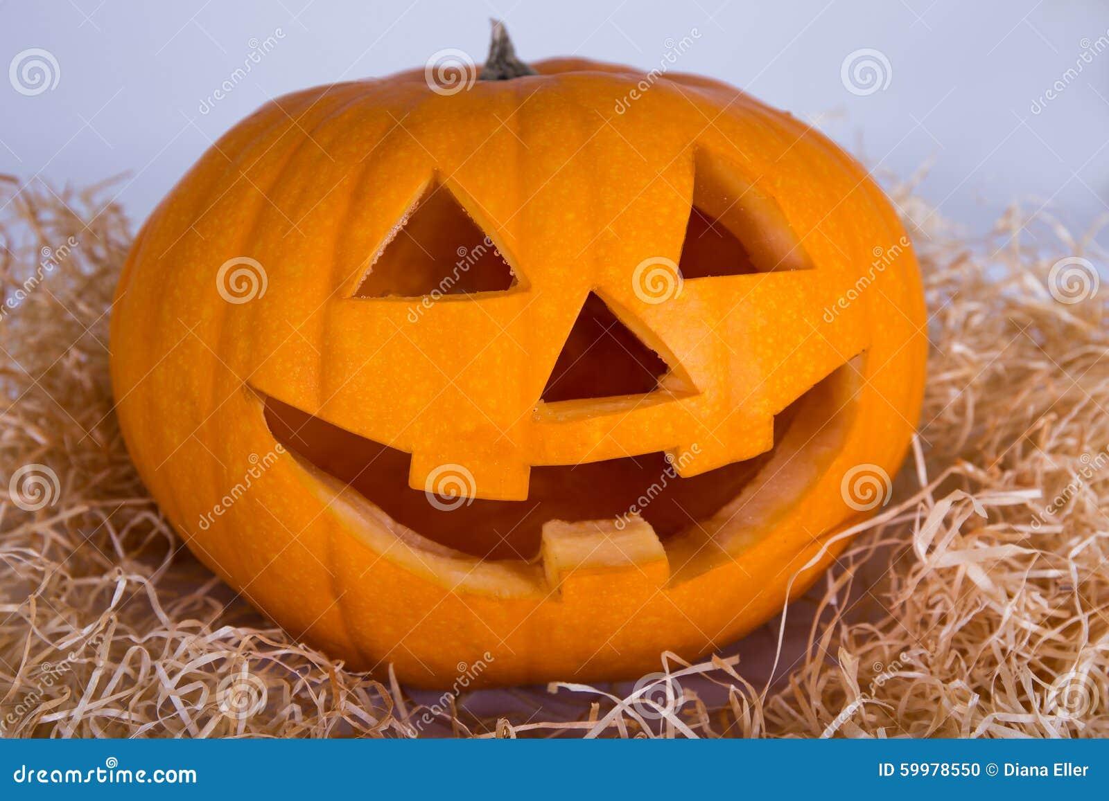 halloween concept pumpkin jack o lantern with happy face stock