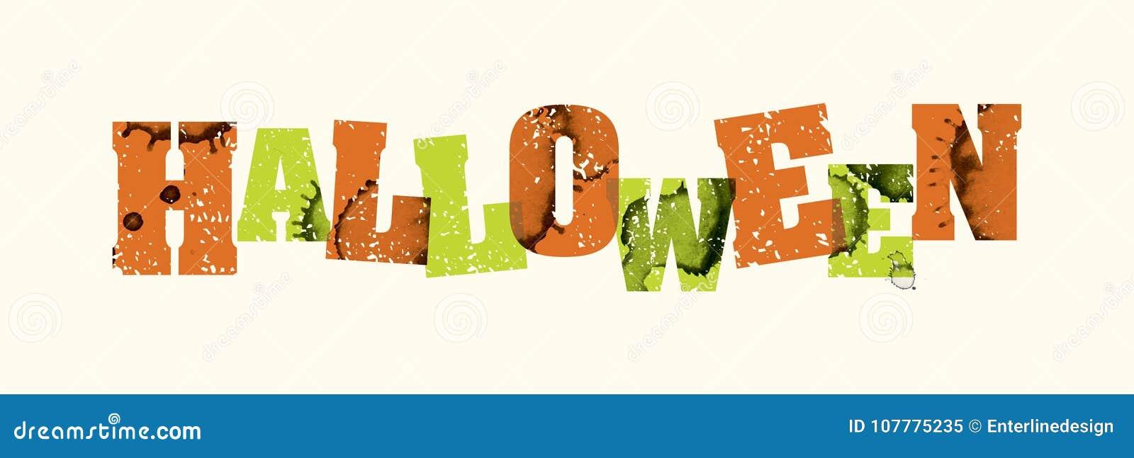 halloween concept stamped word art illustration stock vector