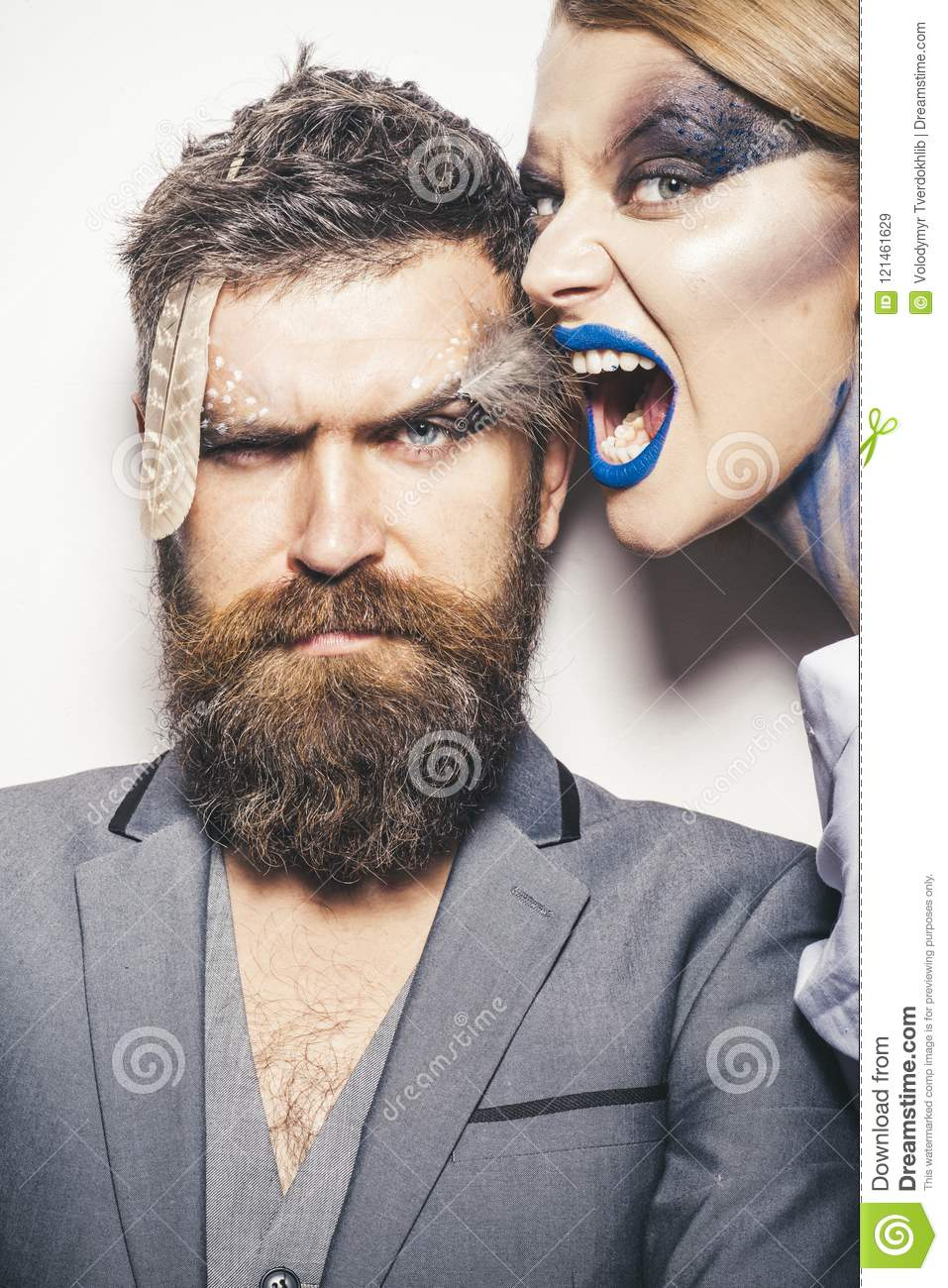 Halloween Make Up Men.Halloween Concept Wicked Woman And Bearded Man With