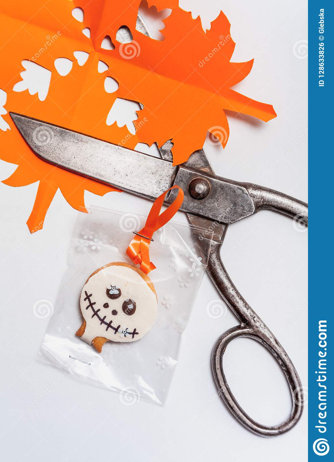 Halloween Cookies And Old Scissors On White Background ...
