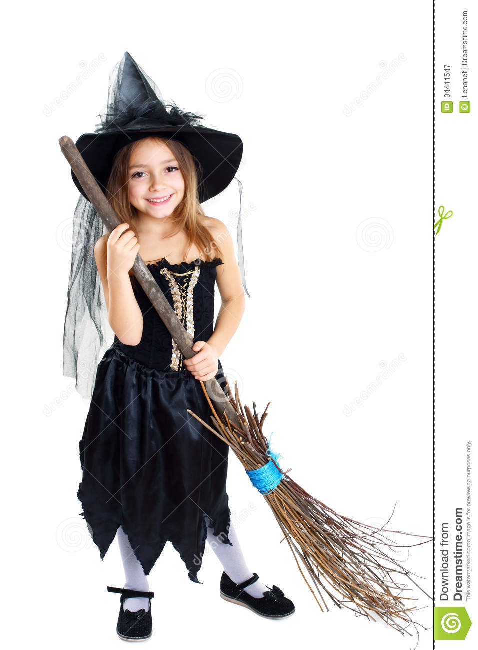 Beautiful cute little girl in witch halloween costume hold the broom isolated over white  sc 1 st  Dreamstime.com & Halloween costume stock image. Image of dark holding - 34411547