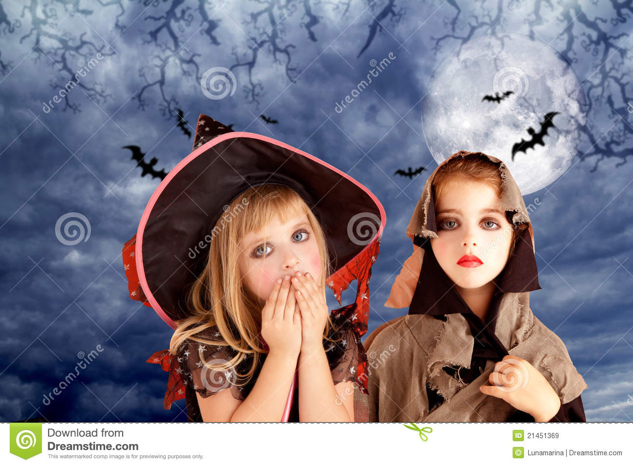 Kids at night with moon royalty free stock photography image - Halloween Costumes Kid Girls On Moon Night Royalty Free Stock Images