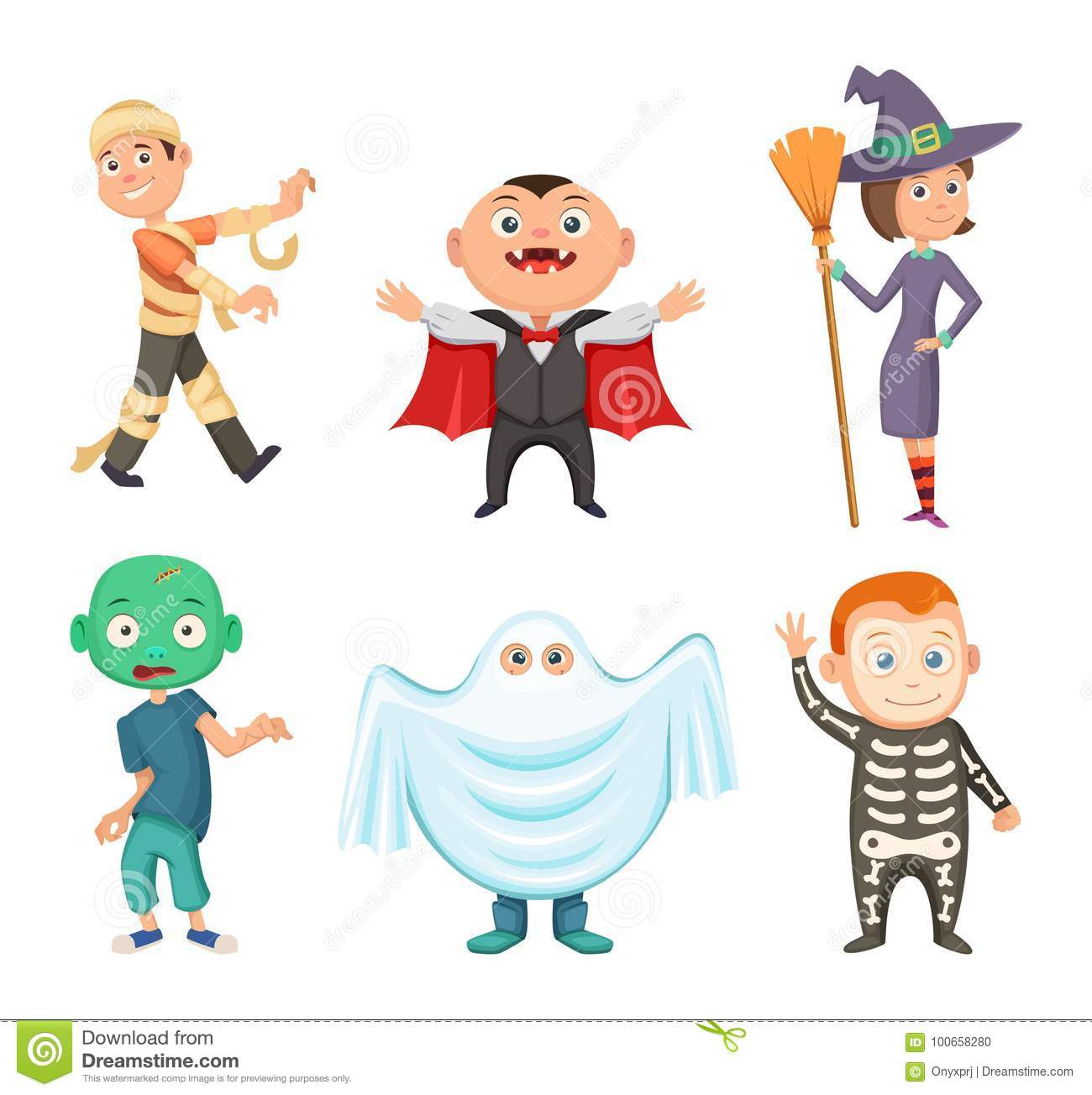 halloween costumes for kids zombie vampire witch and funny ghost set of costume for halloween party vector illustration
