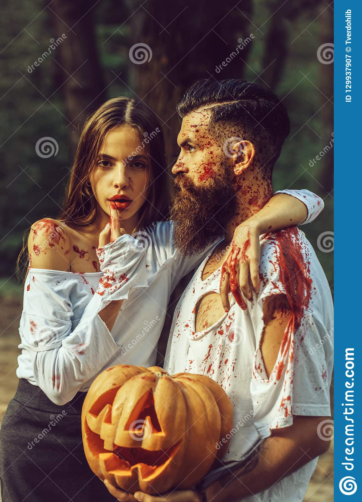 Scary Halloween Makeup For Guys With Beards.Halloween Couple With Pumpkin And Blood Stock Image Image