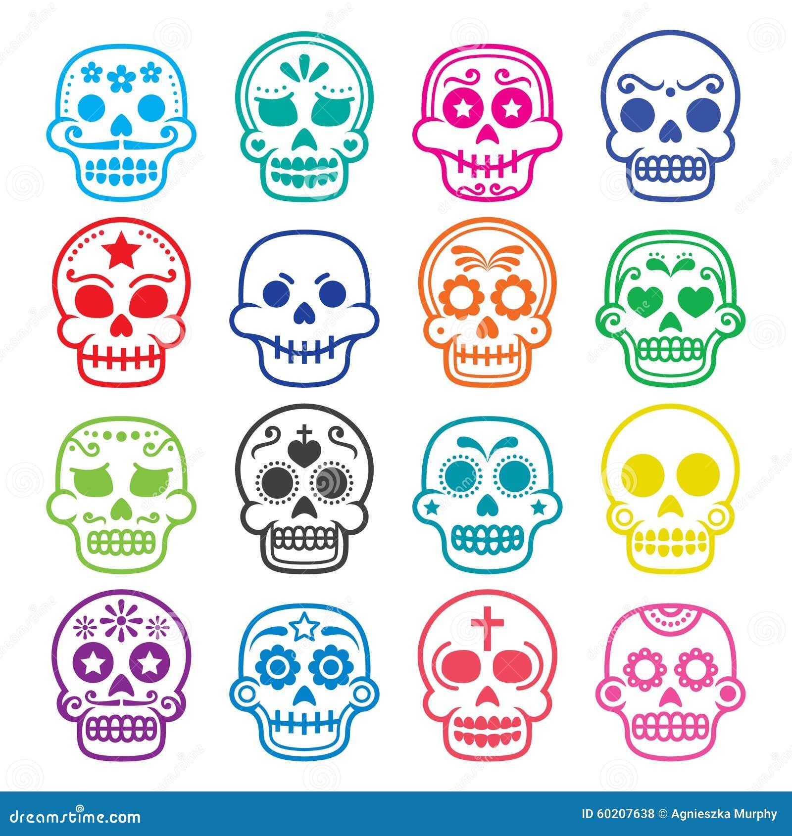 Halloween, Cráneo Mexicano Del Azúcar, Dia De Los Muertos - Iconos ...