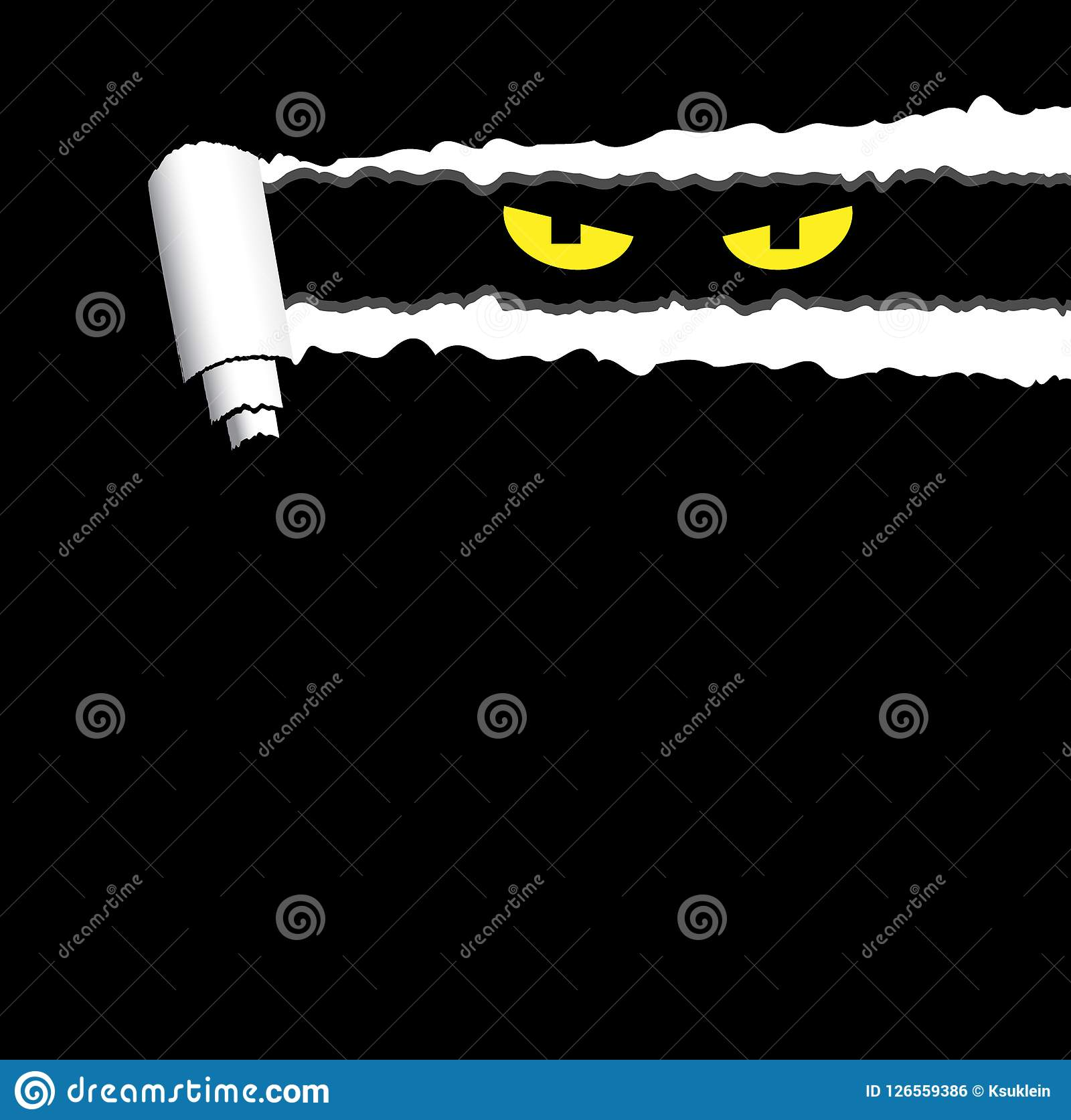 Halloween Creepy Background With Torn Rolled Paper And Spooky Eyes Looking Out