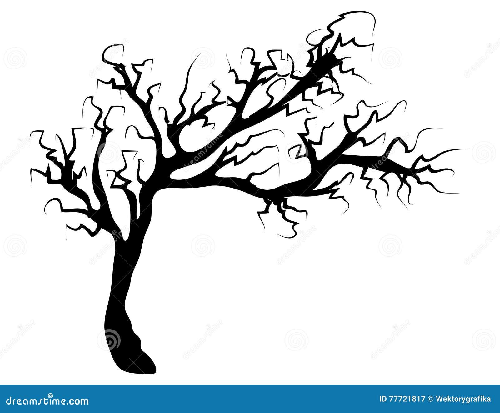 Halloween Creepy Scary Bare Tree Vector Symbol Icon Design