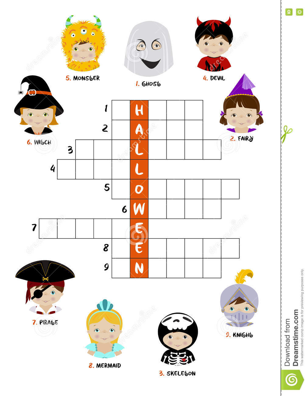 image regarding Halloween Crossword Puzzles Printable identified as Halloween Crossword Puzzle For Youngsters Inventory Vector