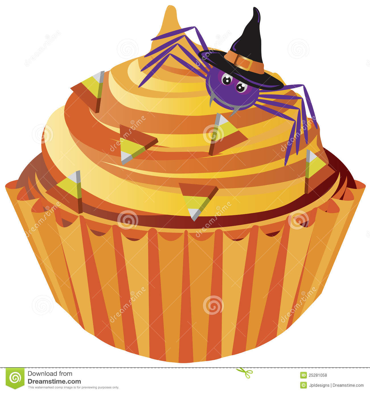 Halloween Cupcake Spider And Candy Illustration Royalty