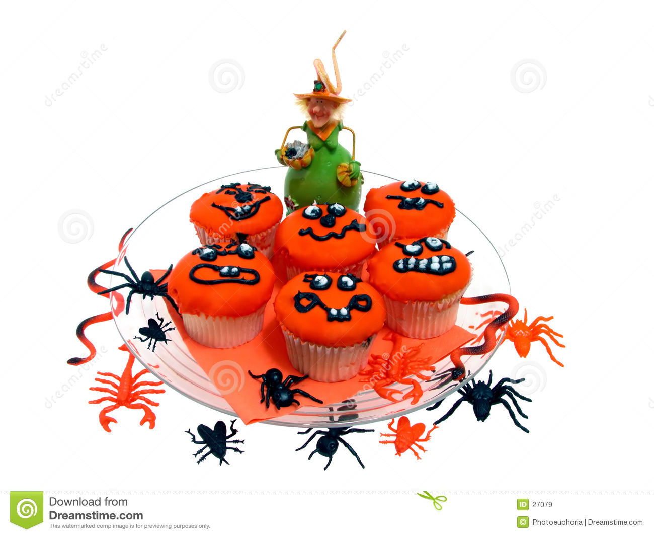 Halloween Cupcakes with Rubber Bugs & Spiders