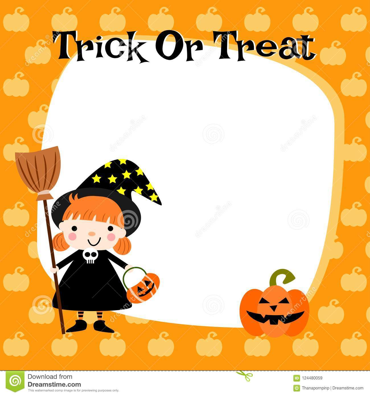 Halloween Cute Little Witch Background Stock Vector Illustration