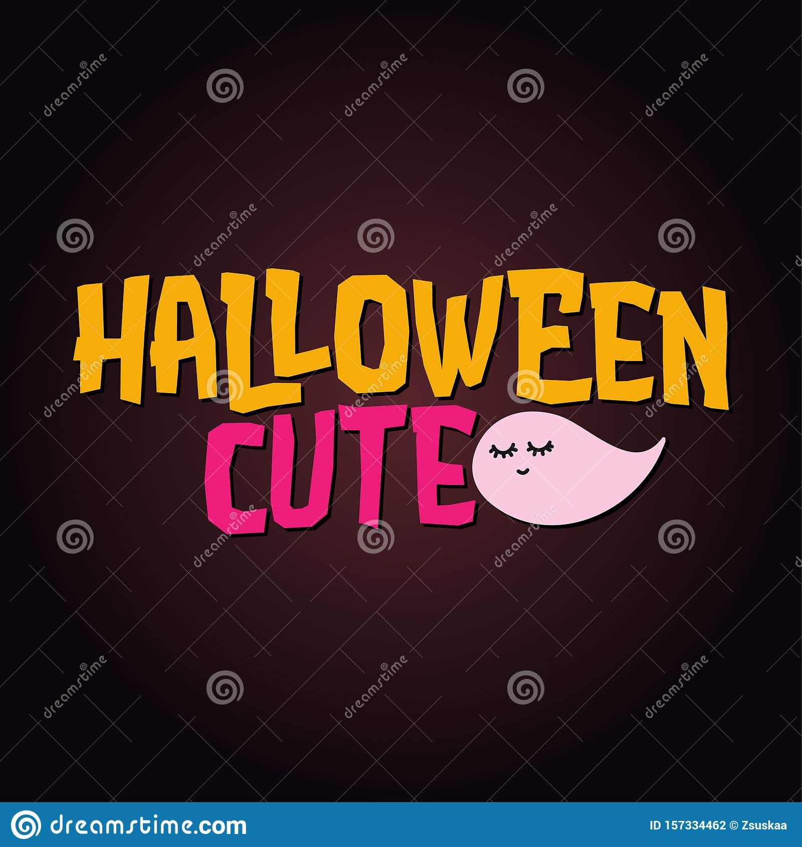 Halloween Cute - Halloween quote on black background.