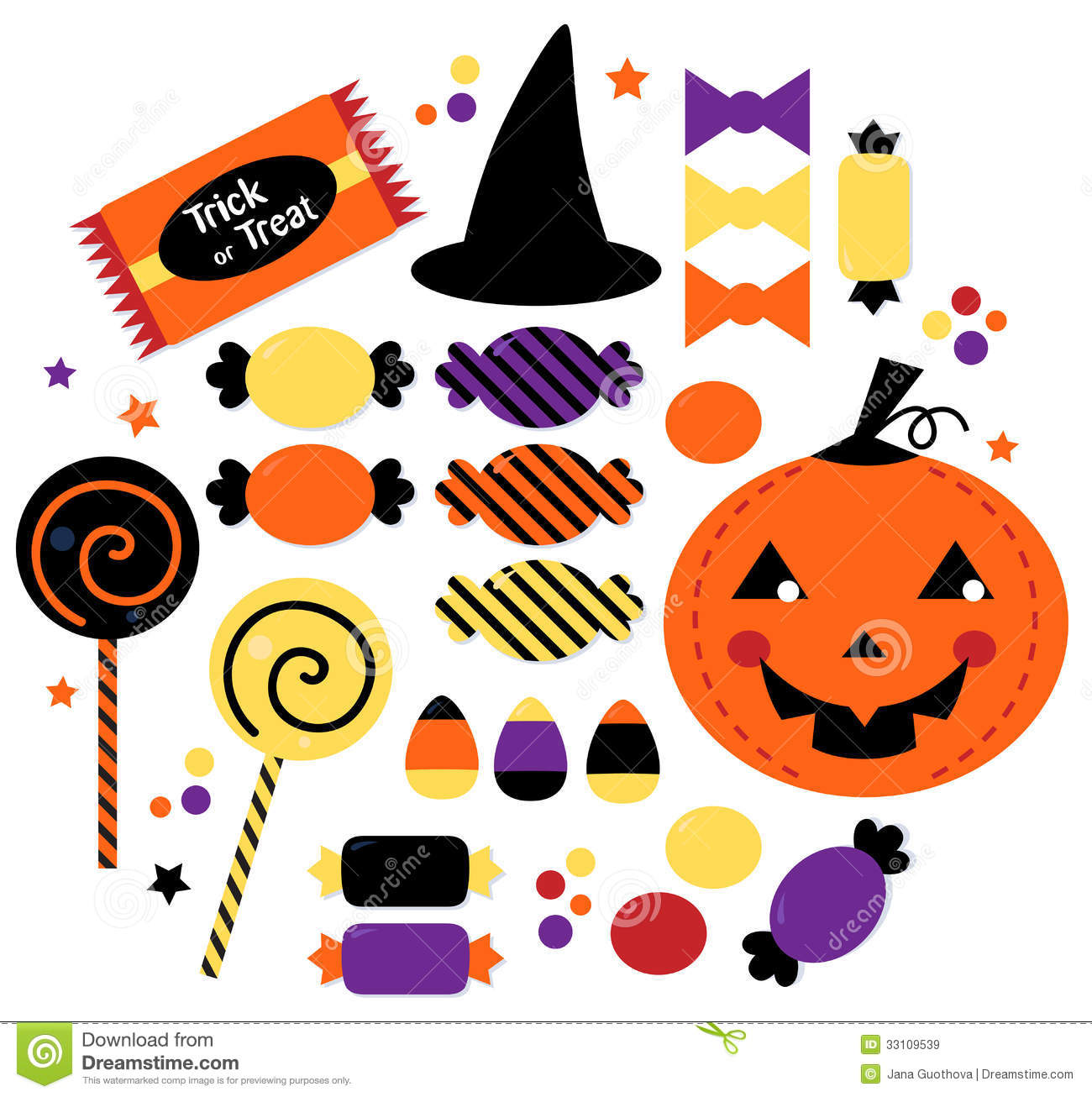 Halloween Cute Sweet Candy Collection Stock Vector ...