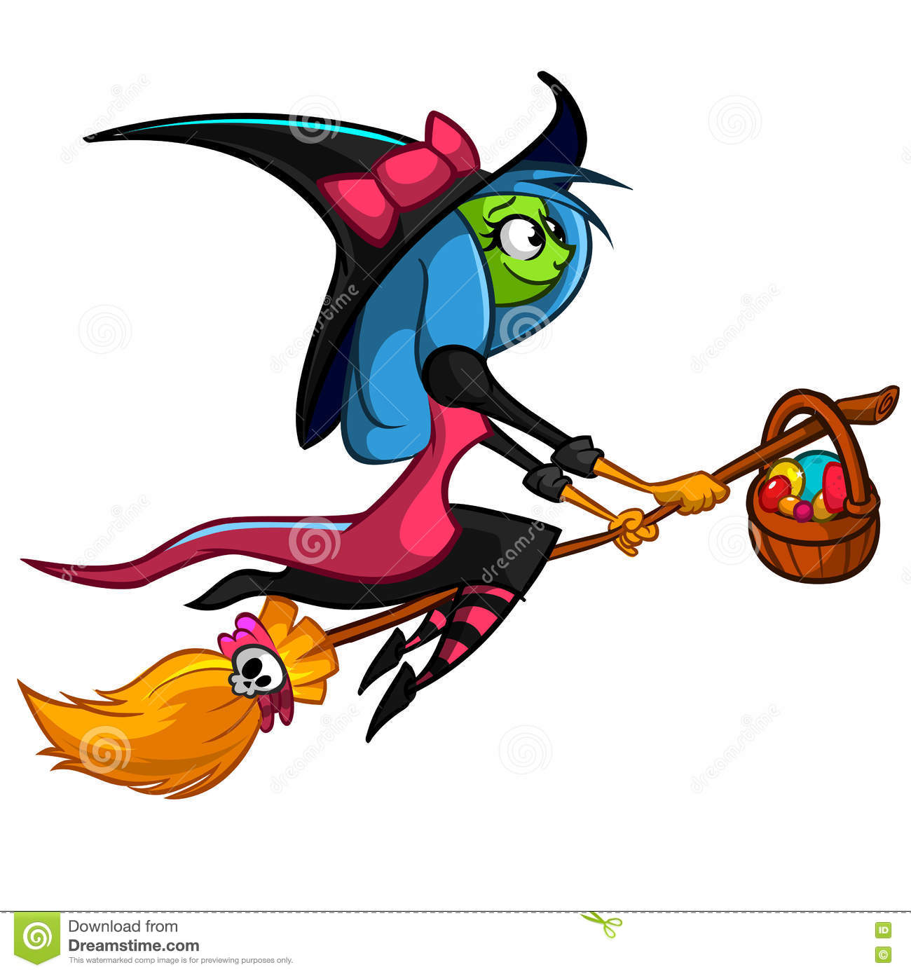halloween cute witch flying on her broom vector cartoon illustration royalty free stock image - Flying Halloween Witch