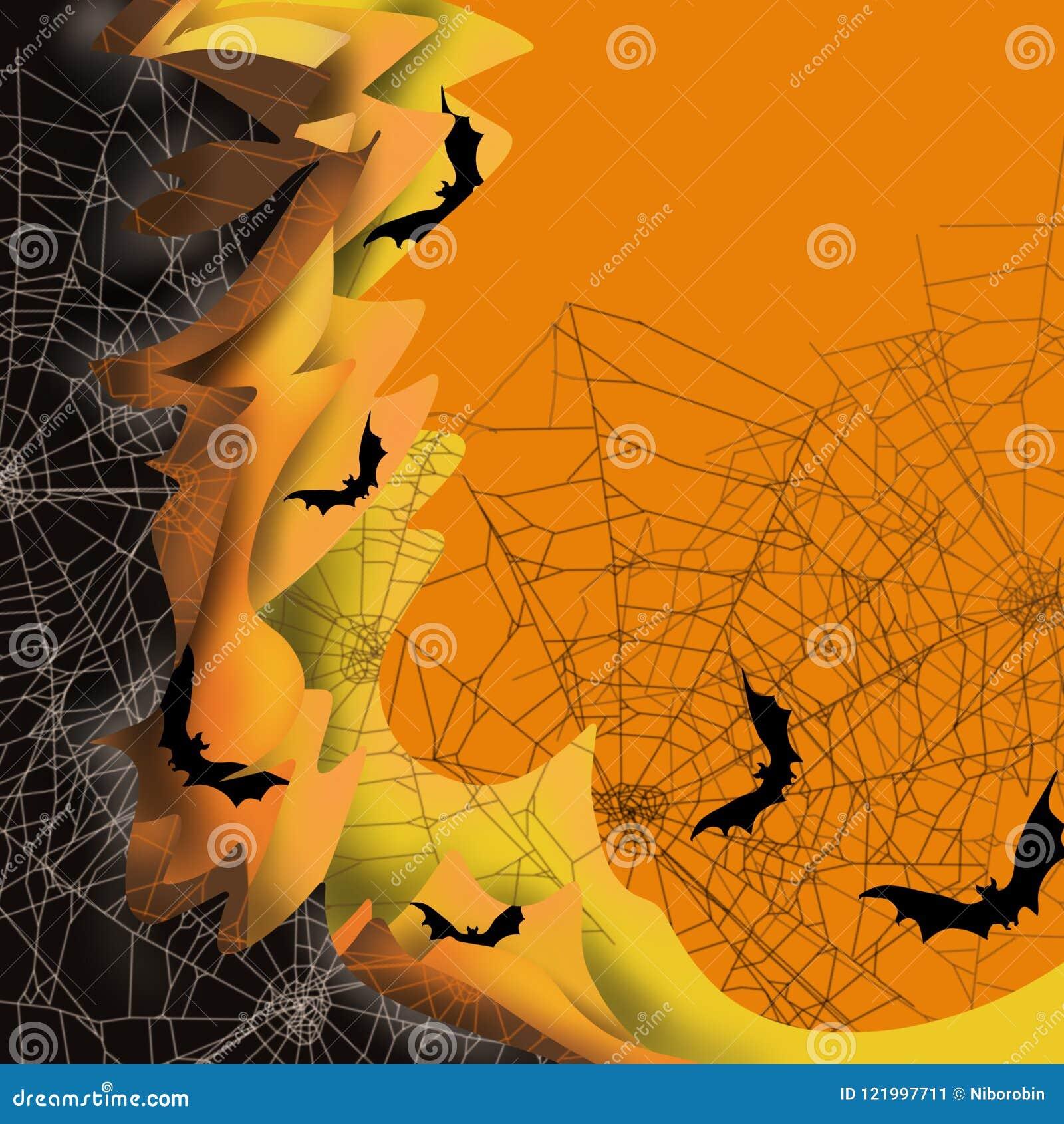 Halloween 3D spadku scena pokrywać się kolor ablegruje spiderwebs, straszni nietoperze, przestrzeń dla teksta, wielka dla zaprosz