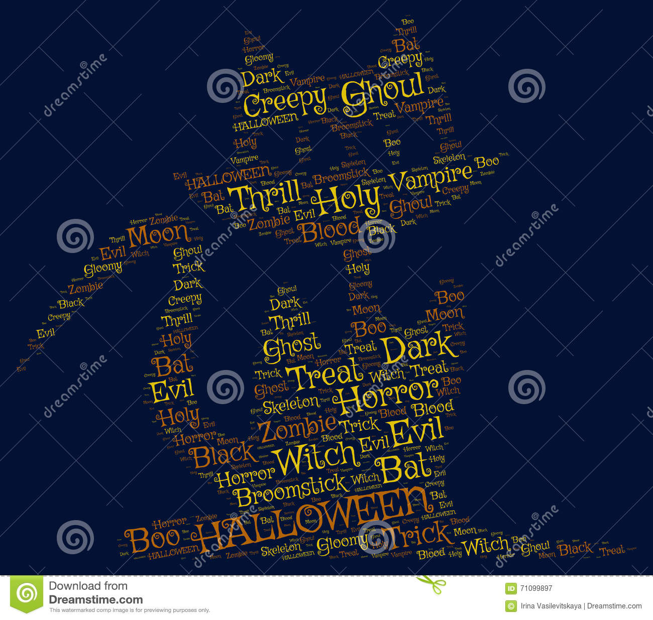 Halloween Dark Backgroun:a Cat Made From Scary Words Stock