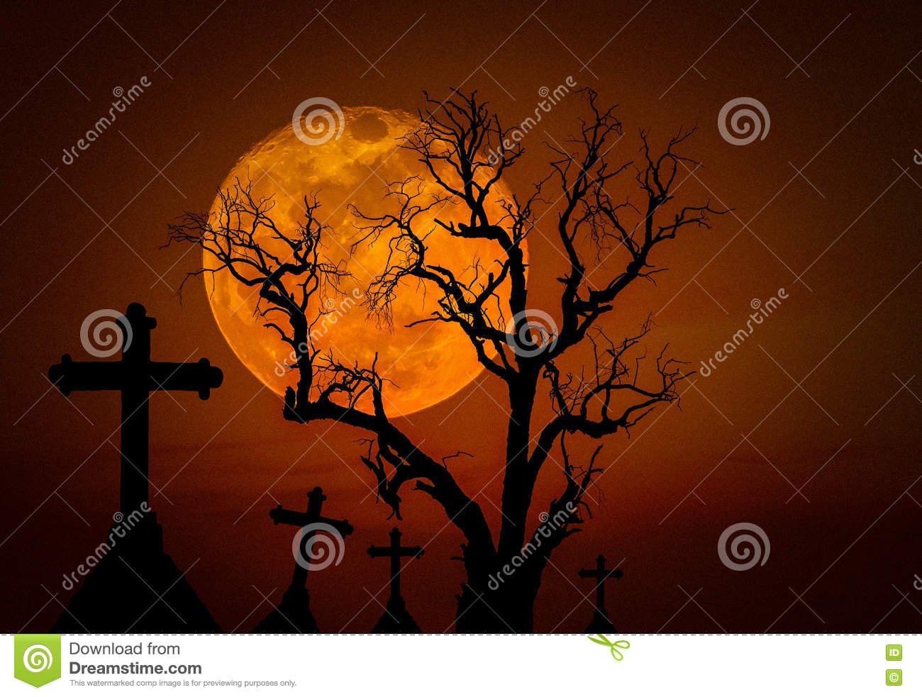 Halloween dark grunge grain concept background with scary dead tree and spooky silhouette crosses and full mo