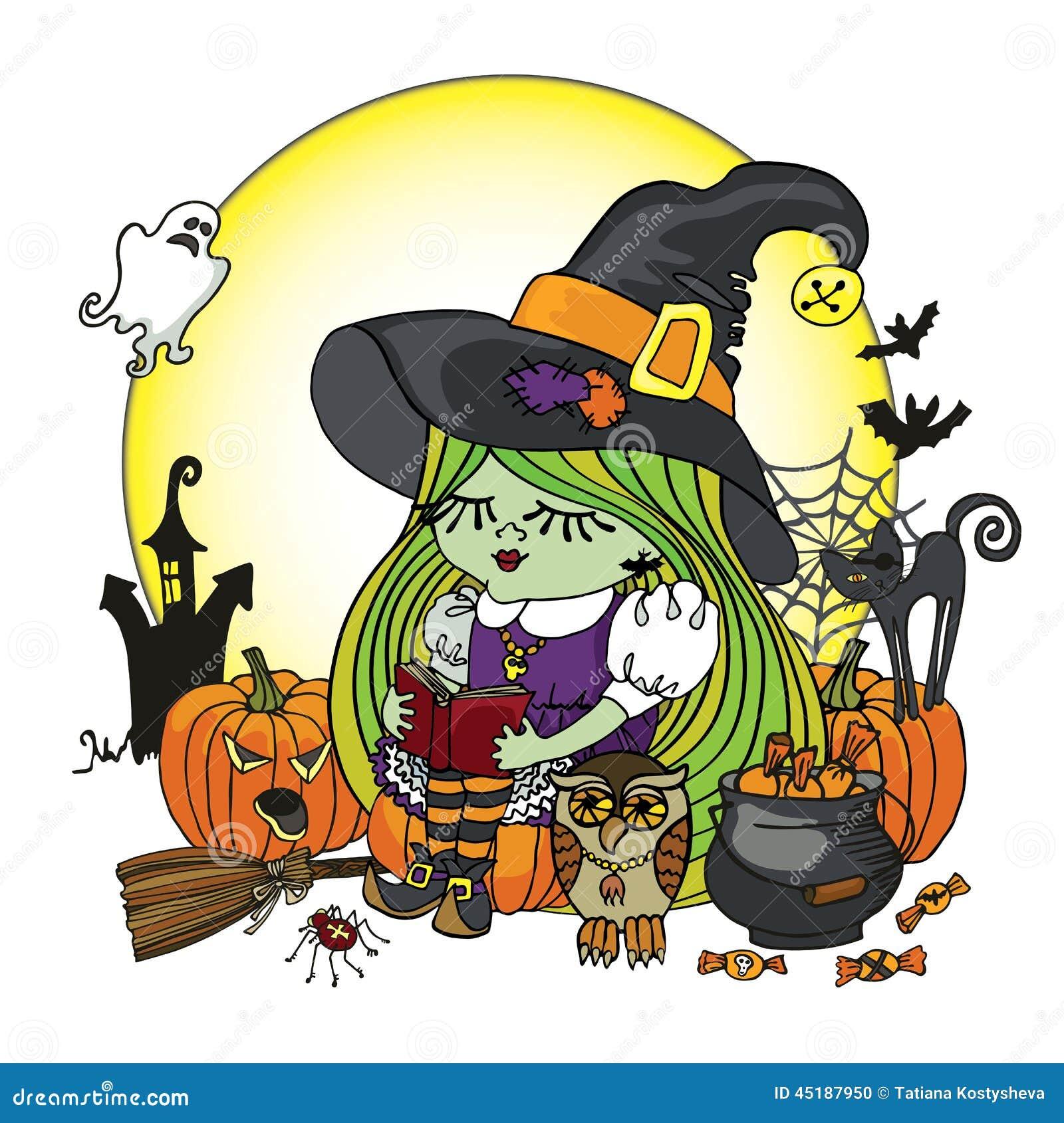 Halloween-de lezingsboek van het Heksenmeisje Illstration