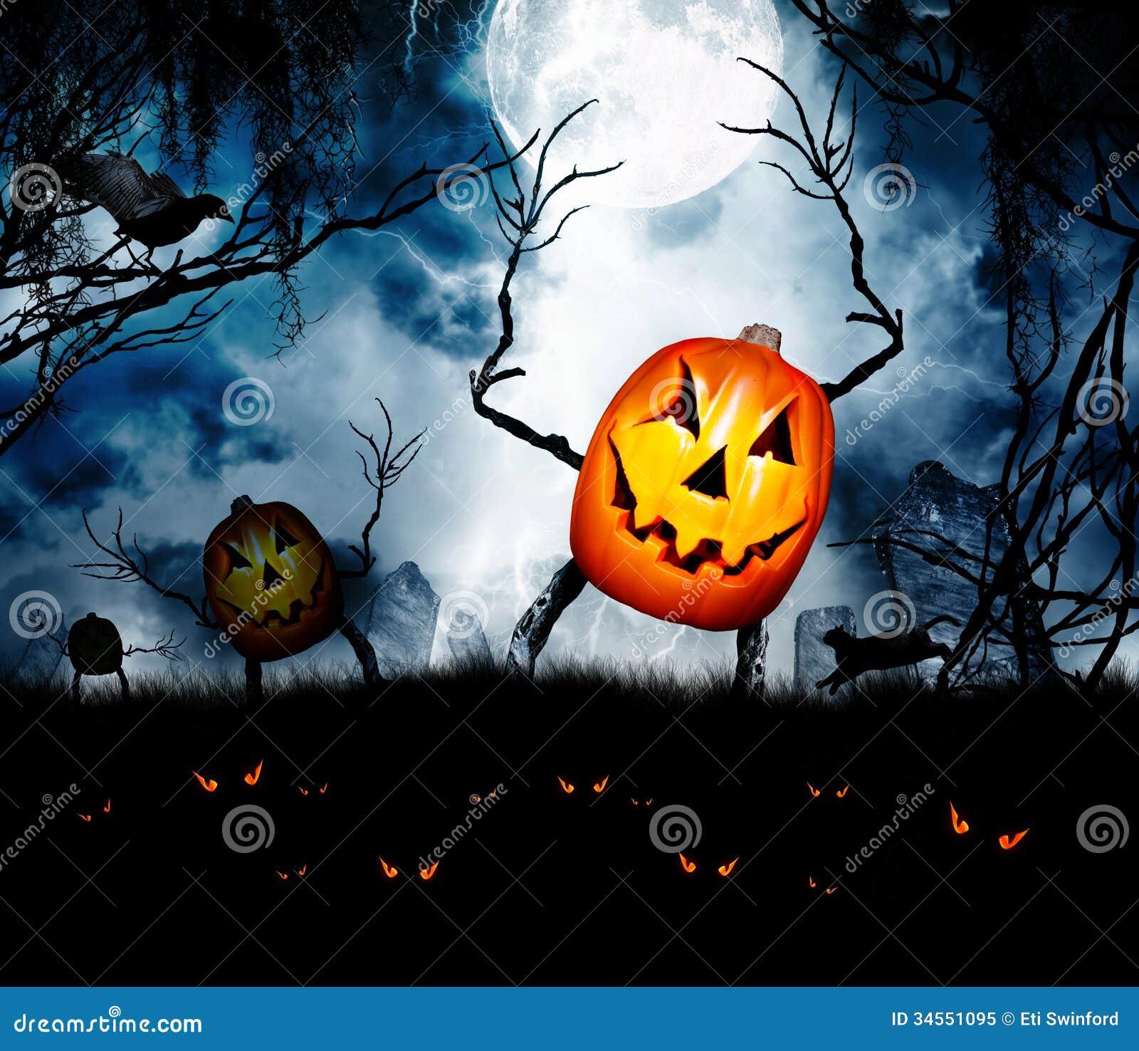 Uit Eten Met Halloween.Halloween De Lijkenetende Geesten Van De Pompoenkoning Stock